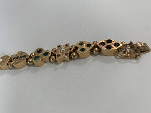 Vintage Slide Charm Bracelet 14k Yellow Gold