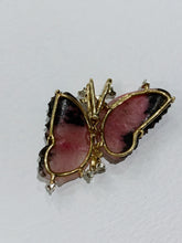 Load image into Gallery viewer, Rhodochrosite Cluster Butterfly Diamond Pendant