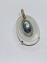 Load image into Gallery viewer, 18k Crystal Black Mabe Pearl & Diamond Enhancer Pendant
