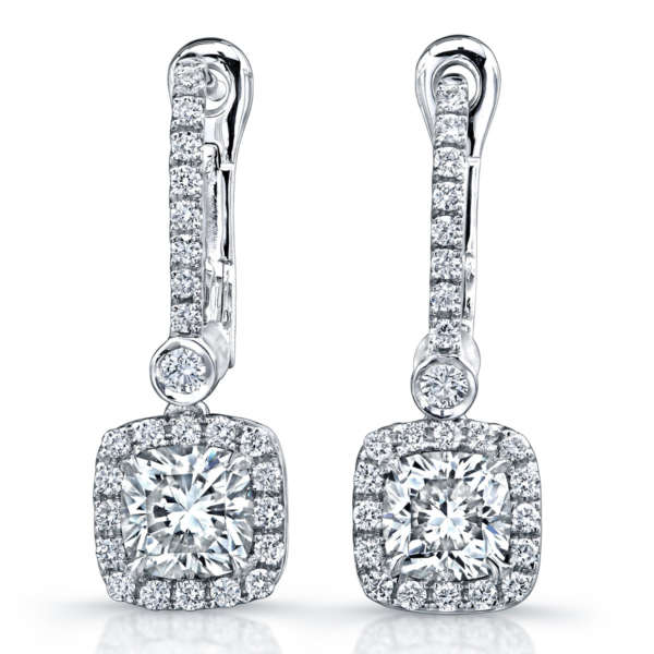 Cushion and Round Cut Diamond Dangle Earrings, Earrings,  - [Wachler]