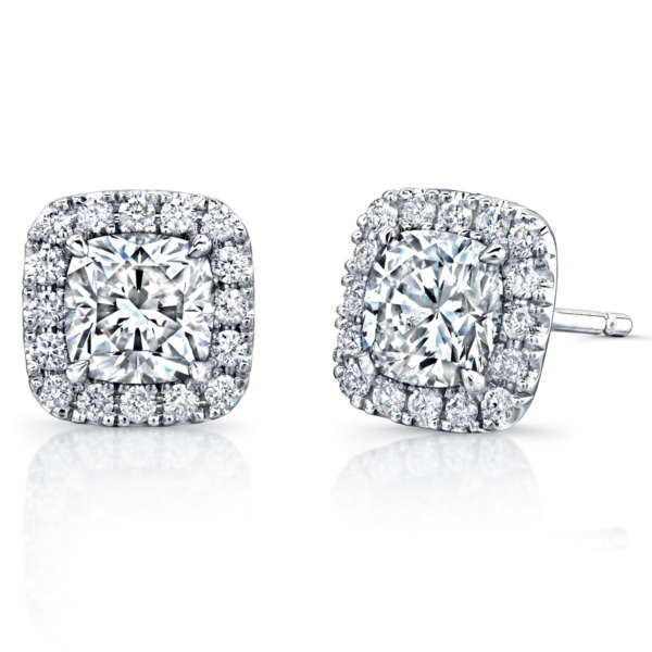 Cusion Cut Diamond Stud Earrings With Pave Accents, Earrings,  - [Wachler]