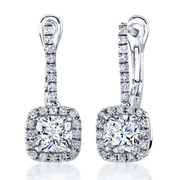 Cusion Cut Dangling Earrings With Pave Accents, Earrings,  - [Wachler]