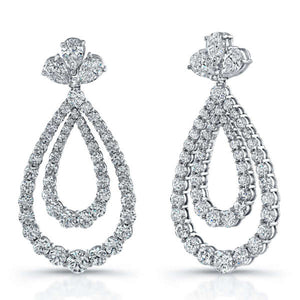 12.97ct Round and Pear Shaped Diamond Earrings, Earrings,  - [Wachler]