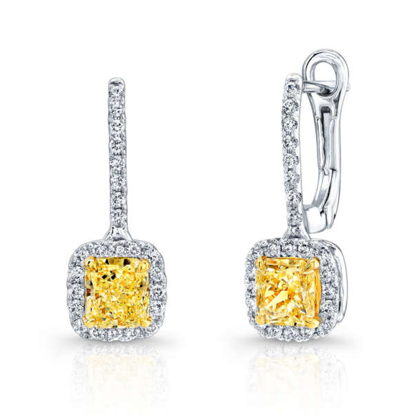 Radiant Cut Yellow Diamonds With Pave Accents, Earrings,  - [Wachler]