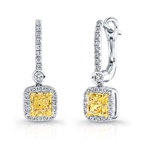 Radiant Cut Diamond Earrings with Pave Halo, Earrings,  - [Wachler]