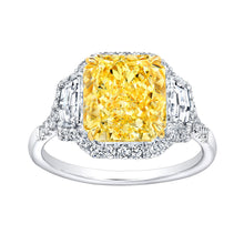 Load image into Gallery viewer, Fancy Yellow Radiant Cut Diamond Engagement Ring with Pave Halo, Engagement Ring,  - [Wachler]