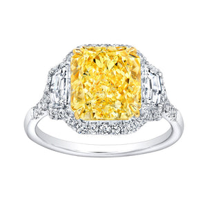 Fancy Yellow Radiant Cut Diamond Engagement Ring with Pave Halo, Engagement Ring,  - [Wachler]
