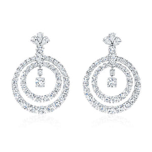 Cushion Cut Diamond Two Ring Earrings, Earrings,  - [Wachler]