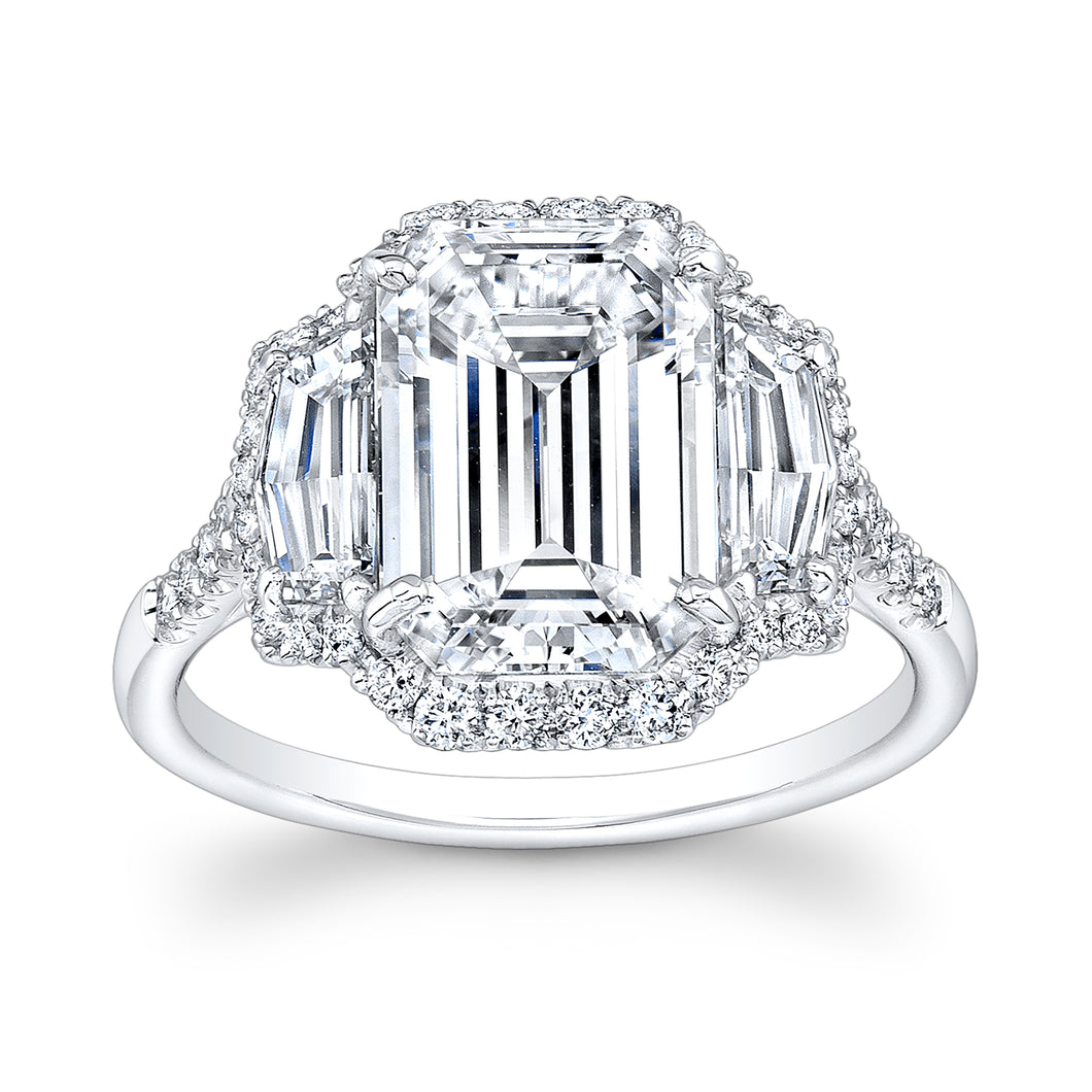 Emerald Cut Diamond Engagement Ring with Pave Halo, Engagement Ring,  - [Wachler]