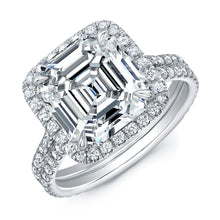 Load image into Gallery viewer, Asscher Cut Diamond Engagment Ring with Pave Halo, Engagement Ring,  - [Wachler]