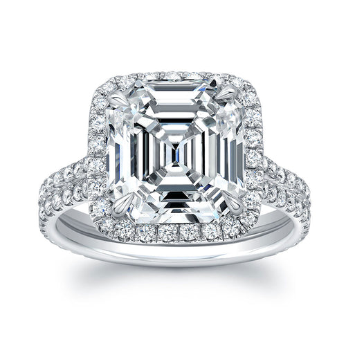 Asscher Cut Diamond Engagment Ring with Pave Halo, Engagement Ring,  - [Wachler]