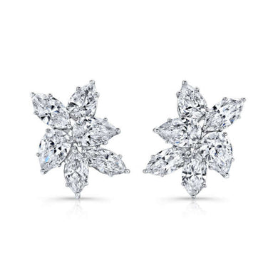 Pear Shaped Diamond Cluster Earrings, Earrings,  - [Wachler]