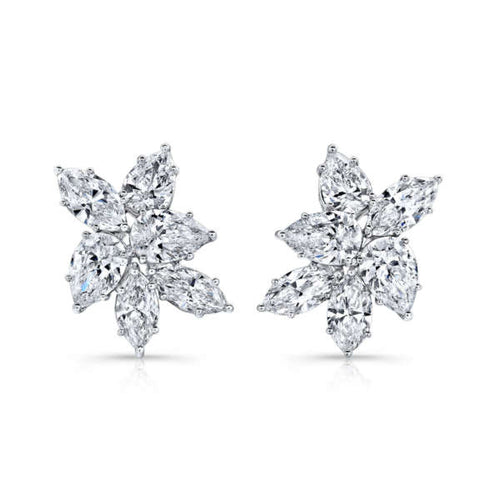 Pear Shaped Diamond Cluster Earrings