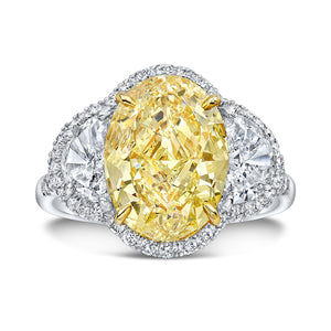 Fancy Yellow Oval Cut Diamond Engagement Ring, Engagement Ring,  - [Wachler]