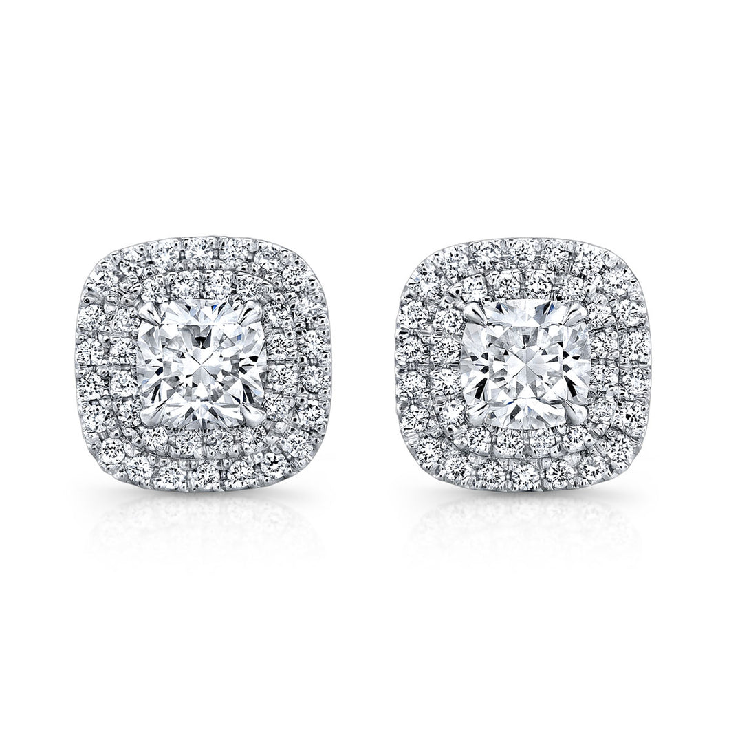 Cushion Cut Diamond Stud Earrings with Two Pave Halos, Earrings,  - [Wachler]