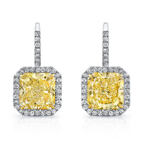 Radiant Cut Yellow Diamond Dangle Earrings with Pave Accents, Earrings,  - [Wachler]