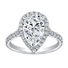 Load image into Gallery viewer, Pear Cut Diamond Engagement Ring with Pave Halo, Engagement Ring,  - [Wachler]