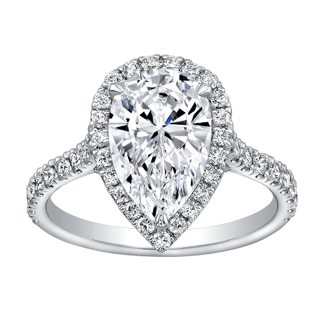 Pear Cut Diamond Engagement Ring with Pave Halo, Engagement Ring,  - [Wachler]