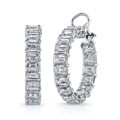 Emerald Cut Diamond Hoop Earrings, Earrings,  - [Wachler]