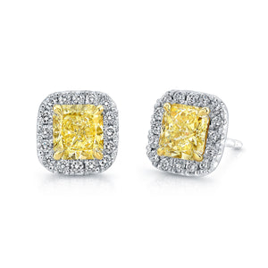 Radiant Cut Yellow Diamond Stud Earrings, Earrings,  - [Wachler]