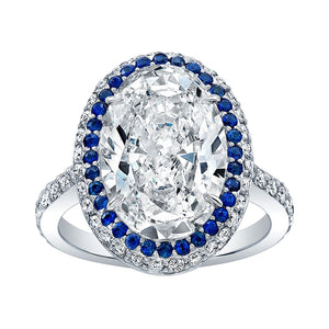 Oval Cut Diamond and Sapphire Engagement Ring, Engagement Ring,  - [Wachler]