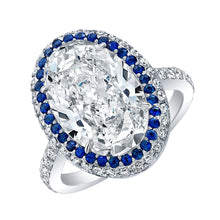 Load image into Gallery viewer, Oval Cut Diamond and Sapphire Engagement Ring, Engagement Ring,  - [Wachler]