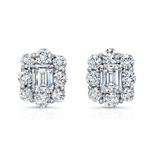Round and Emerald Cut Diamond Stud Earrings, Earrings,  - [Wachler]