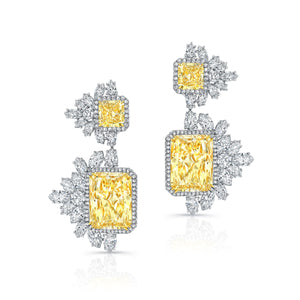 Radiant Cut Yellow Diamond Dangle Earrings, Earrings,  - [Wachler]