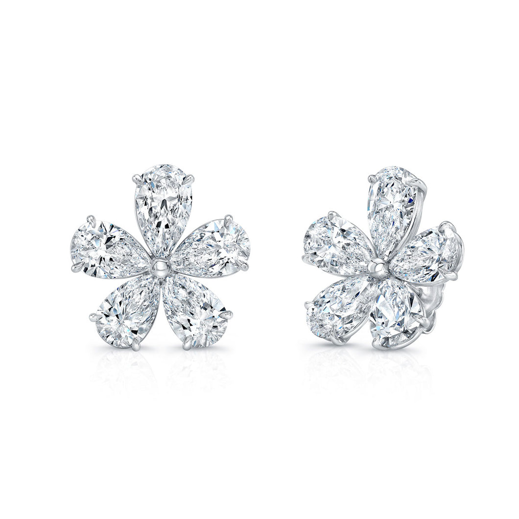 Pear Shaped Floral Stud Earrings, Earrings,  - [Wachler]