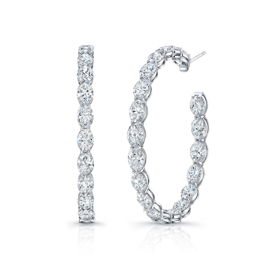 Oval Diamond Hoop Earrings, Earrings,  - [Wachler]
