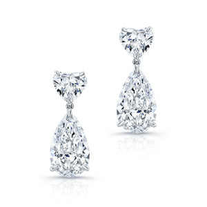 Heart and Pear Shaped Diamond Dangle Earrings, Earrings,  - [Wachler]
