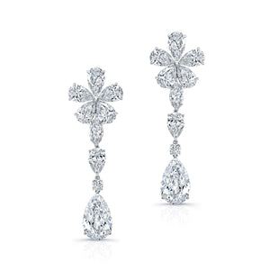 48ct Dangle Pear and Flower Shaped Earrings, Earrings,  - [Wachler]