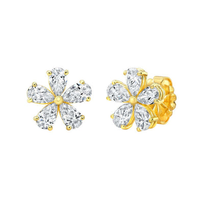 Pear Shaped Diamond Floral Stud Earrings, Earrings,  - [Wachler]