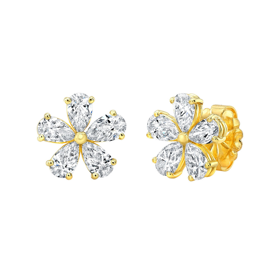 Pear Shaped Golden Flower Diamond Stud Earrings, Earrings,  - [Wachler]