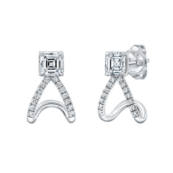 Asscher Cut Curved Diamond Stud Earrings, Earrings,  - [Wachler]