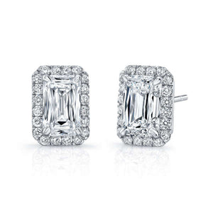 Emerald Cut Diamond Earrings With Round Diamond Halo, Earrings,  - [Wachler]