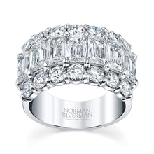 Load image into Gallery viewer, Emerald and Round Cut Diamond Wedding Ring, Bridal,  - [Wachler]
