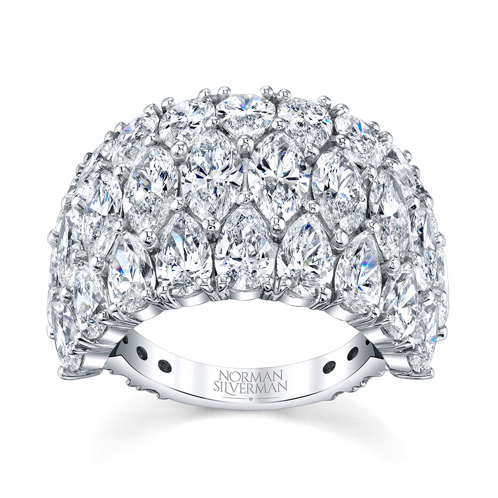 Pear Shaped Diamond Wedding Ring, Bridal,  - [Wachler]