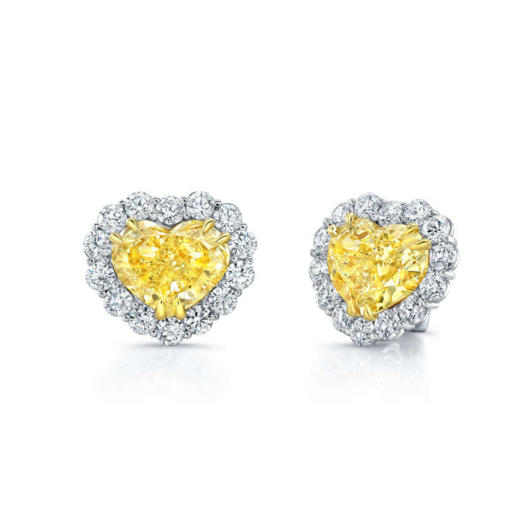 Heart Shaped Yellow Diamond Earrings with White Diamond Accents, Earrings,  - [Wachler]