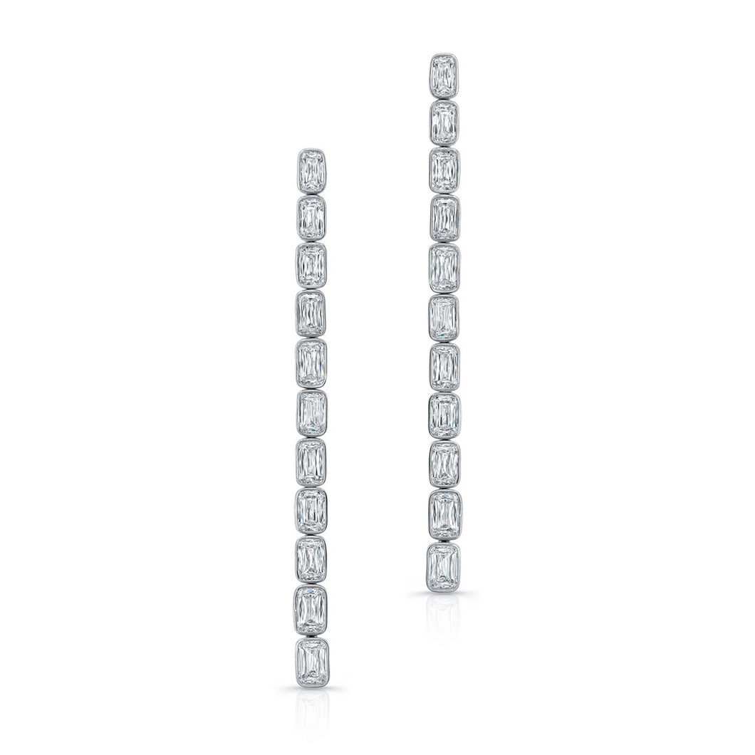 Emerald Cut Diamond Drop Earrings, Earrings,  - [Wachler]