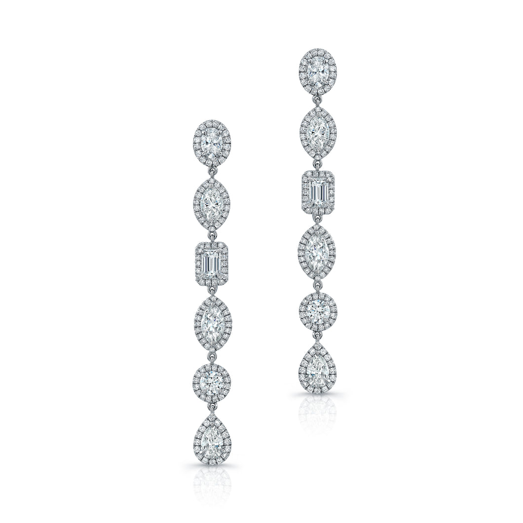 Multi-Cut Diamond Earrings With Pave Halo, Earrings,  - [Wachler]