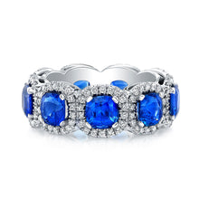 Load image into Gallery viewer, Halo Set Sapphire Eternity Band, Wedding Bands,  - [Wachler]