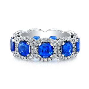 Halo Set Sapphire Eternity Band, Wedding Bands,  - [Wachler]