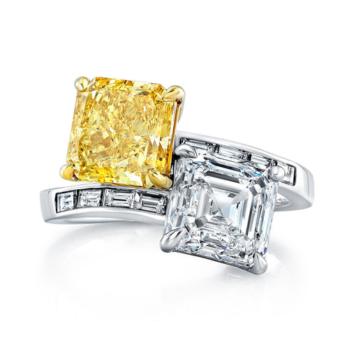 Fancy Yellow & White Diamond Ring with Baguettes, Fashion Rings,  - [Wachler]