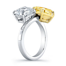 Load image into Gallery viewer, Fancy Yellow & White Diamond Ring with Baguettes, Fashion Rings,  - [Wachler]
