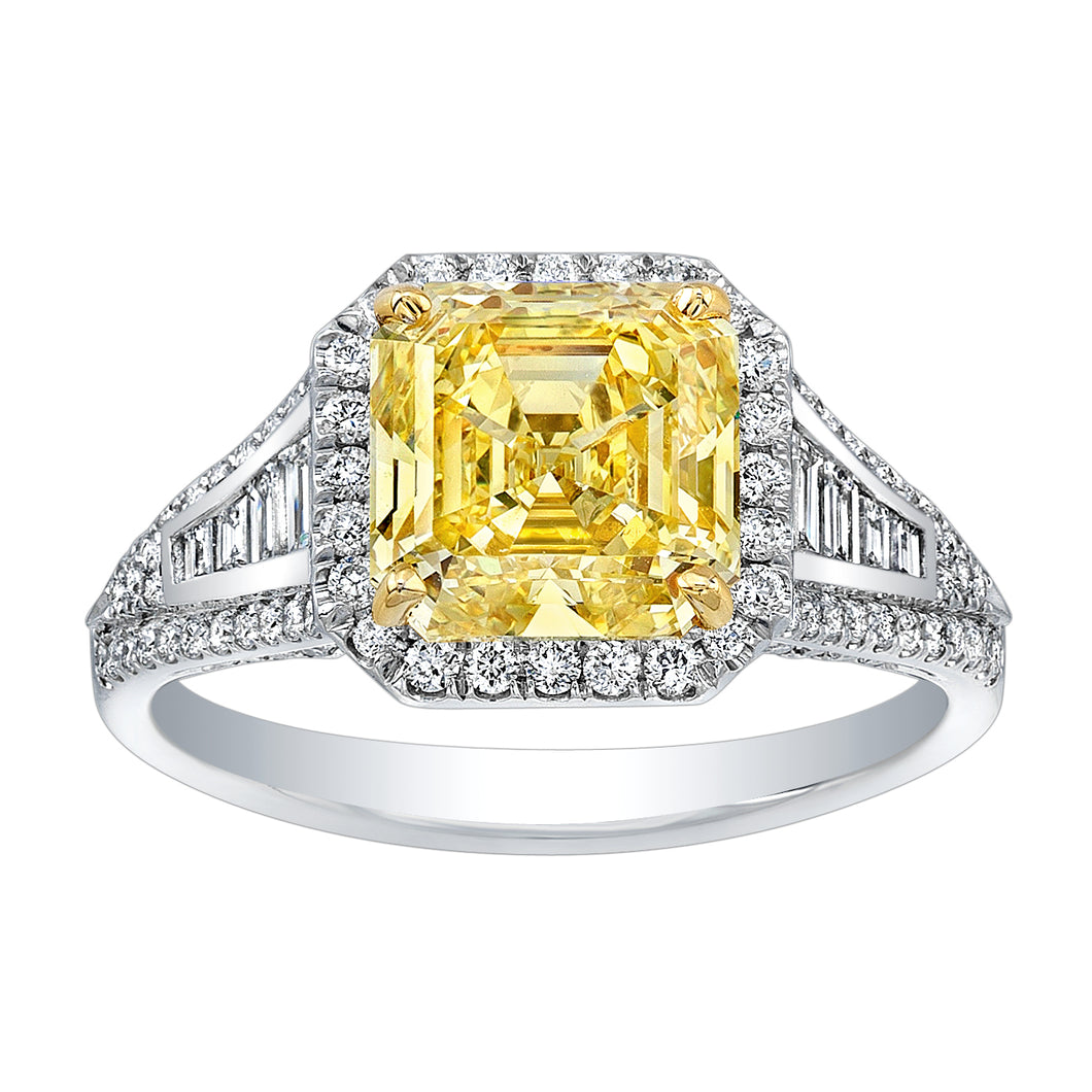 Asscher Cut Fancy Yellow Diamond Engagement Ring, Engagement Ring,  - [Wachler]