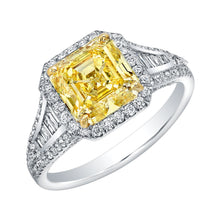 Load image into Gallery viewer, Asscher Cut Fancy Yellow Diamond Engagement Ring, Engagement Ring,  - [Wachler]