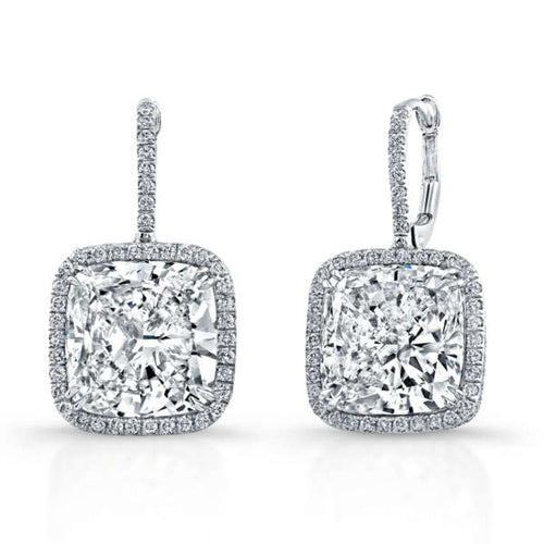 Cushion Cut Diamond Dangle Earrings With Pave Additions, Earrings,  - [Wachler]