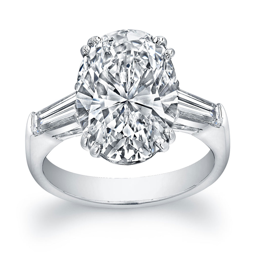Platinum 4 Carat Oval Tapered Baguette Engagement Ring, Engagement Ring,  - [Wachler]