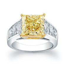Load image into Gallery viewer, Princess Cut Yellow Diamond Engagement Ring, Engagement Ring,  - [Wachler]